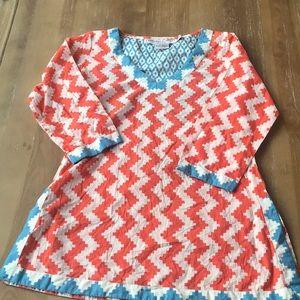 Gretchen Scott orange chevron tunic